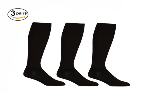 AB211BL_3, Firm Support (20-30mmHg) Black Knee High Compression Socks, Front View