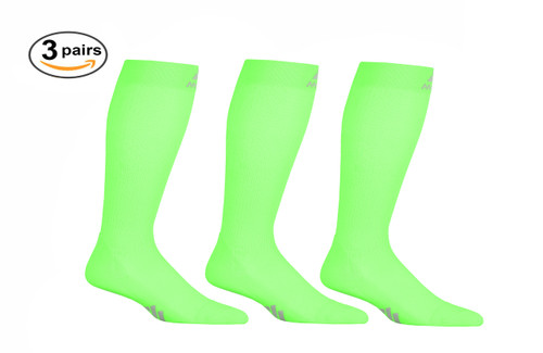 M809AG_3, Firm Support (20-30mmHg) Action Green Knee High Compression Socks, Front View