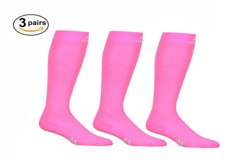 M809HP_3, Firm Support (20-30mmHg) Hot Pink Knee High Compression Socks, Front View