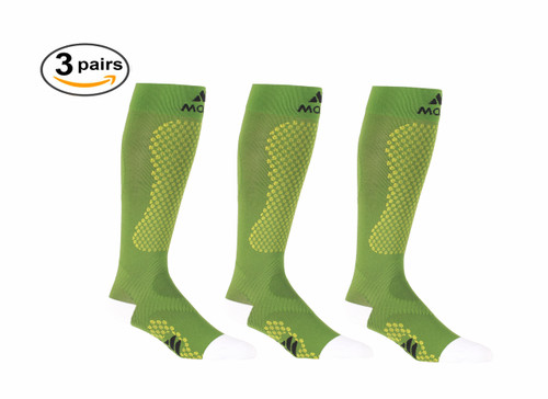 A603GR_3, Firm Support (20-30mmHg) Green Knee High Compression Socks, Front View