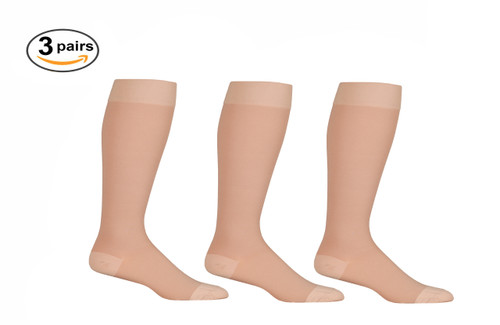 AB201BE3, Firm Support (20-30mmHg) Beige Knee High Compression Socks, Front View