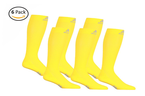 M809YE_6, Firm Support (20-30mmHg) Yellow  Knee High Compression Socks, Front View