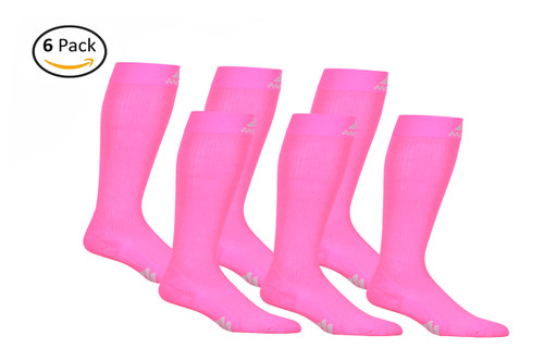 Mojo Compression Socks™ 6 Pack of Mojo Compression Socks - Comfortable Coolmax Material for Recovery & Performance Medical Support Socks Firm Support - Hot Pink