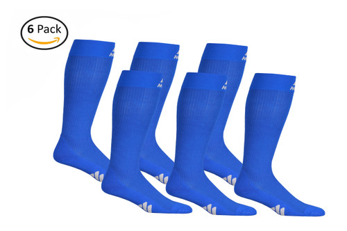 M809RB_6, Firm Support (20-30mmHg) Royal Blue Knee High Compression Socks, Front View