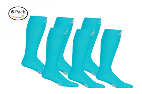 M809SB_6, Firm Support (20-30mmHg) Sky Blue Knee High Compression Socks, Front View