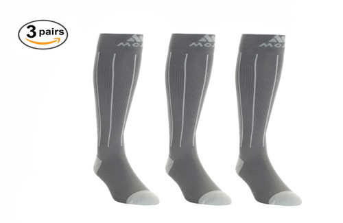 M816GS_3, Firm Support (20-30mmHg) Grey Blue Dot Knee High Compression Socks, Front View