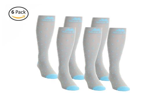 Mojo Compression Socks™ 6 Pack of Gray Essential Polka Dot Compression Socks