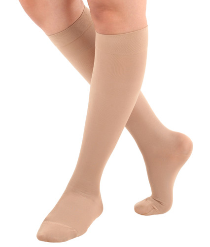 A231BE, Firm Support (20-30mmHg) Beige Knee High compression socks, front view