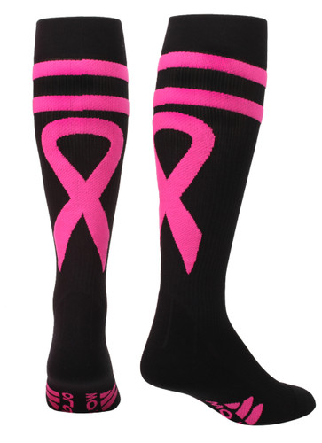 Mojo Compression Socks Special Edition - Breast Cancer Ribbon Compression Socks Black