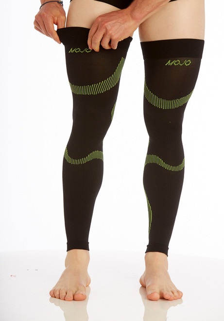 A609BG, Firm Support (20-30mmHg) Black Green Knee High Compression Socks, Front View