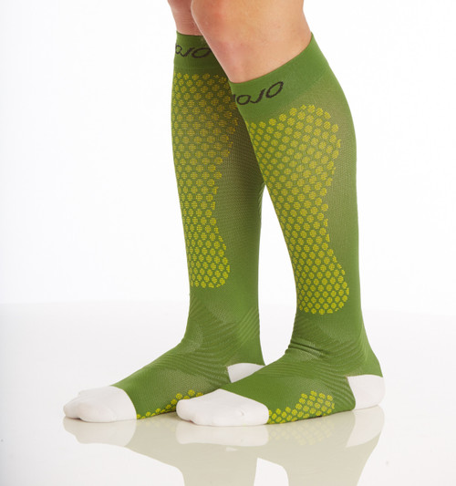 A603GR, Firm Support (20-30mmHg) Green Knee High Compression Socks, Side View