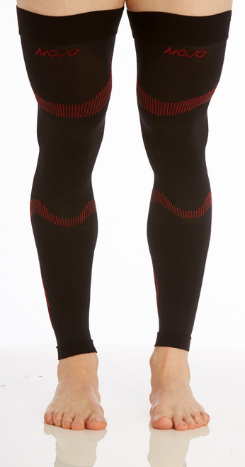A609BR, Firm Support (20-30mmHg) Black Red Knee High Compression Socks, Front View