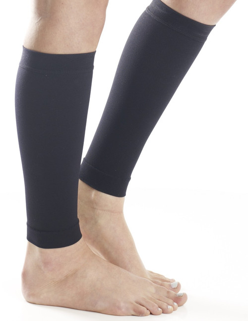 A711BL, Firm Support (20-30mmHg) Black Knee High Compression Socks, Rear View