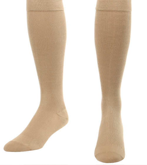 A105KH, Firm Support (20-30mmHg) Khaki Knee High Compression Socks, Front View