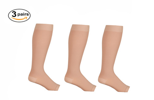 AB211BE_3, Firm Support (20-30mmHg) Beige Knee High Compression Socks, Front View
