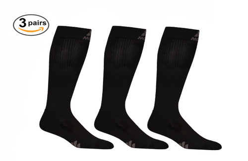 M809BL_3, Firm Support (20-30mmHg) Black Knee High Compression Socks, Front View