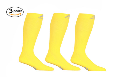 M809YE_3, Firm Support (20-30mmHg) Yellow Knee High Compression Socks, Front View