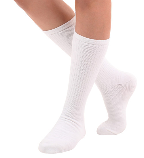 A1017WH, Light Support (8-15mmHg) White Knee High Compression Socks, Front View
