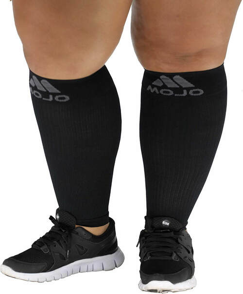 Mojo Compression Plus Size  Calf Sleeves, Firm Support 20-30mmHg - Unisex