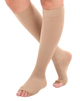 A131BE, Firm Support (20-30mmHg)  Knee High Compression Socks Open Toe, Front View