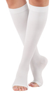 A211WH, Firm Support (20-30mmHg) White Knee High Compression Socks, Front View