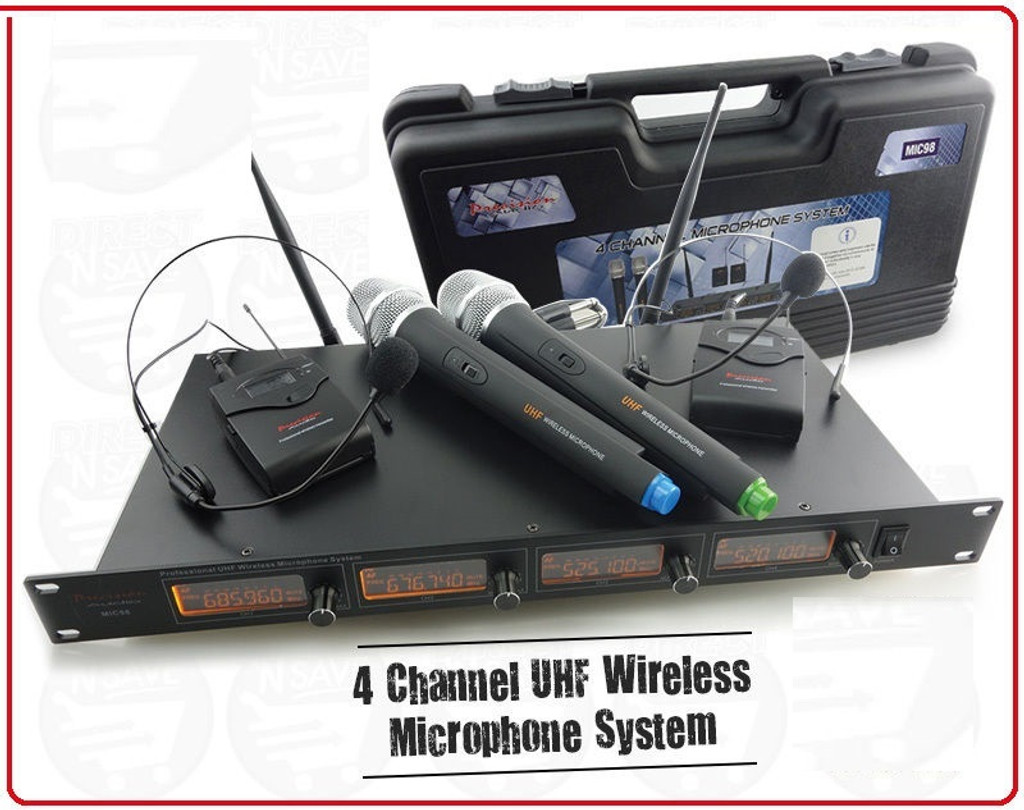 Wireless Headset x2 & Microphone x2 Cordless 4 Channel UHF Microphone Kit. MIC98