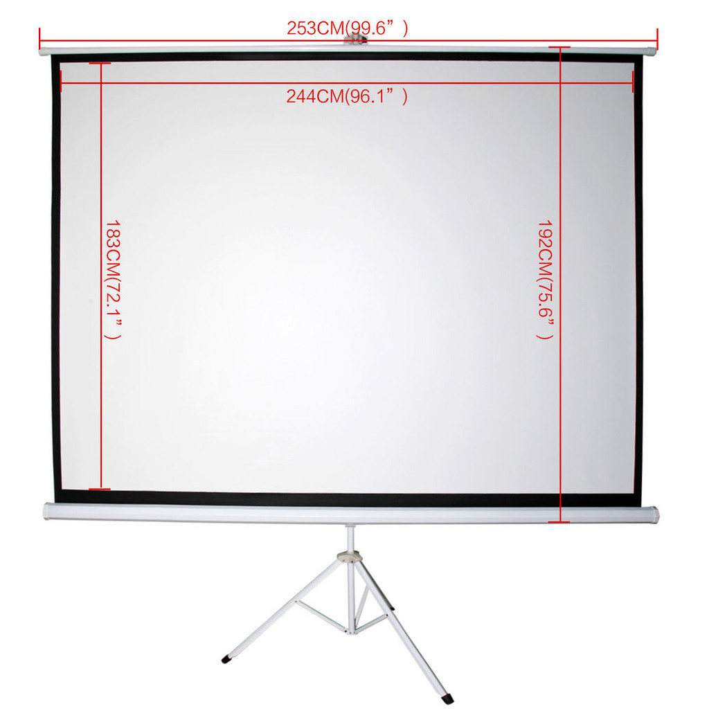 120 Inch Portable Projector Tripod Screen Home TV Cinema HD with Adjustable Tripod