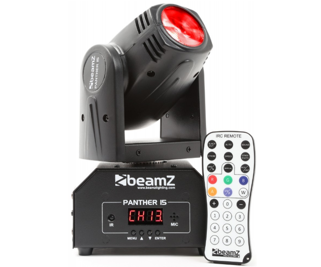 Beamz Panther 15 LED Beam Moving Head IRC