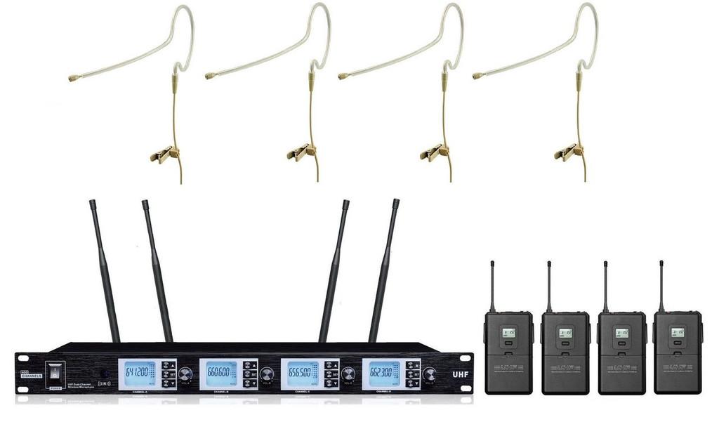 Bol-Mic Pro UHF PR-A4200SB 4 x 100 Channel Single Earhook Headset Wireless Microphone