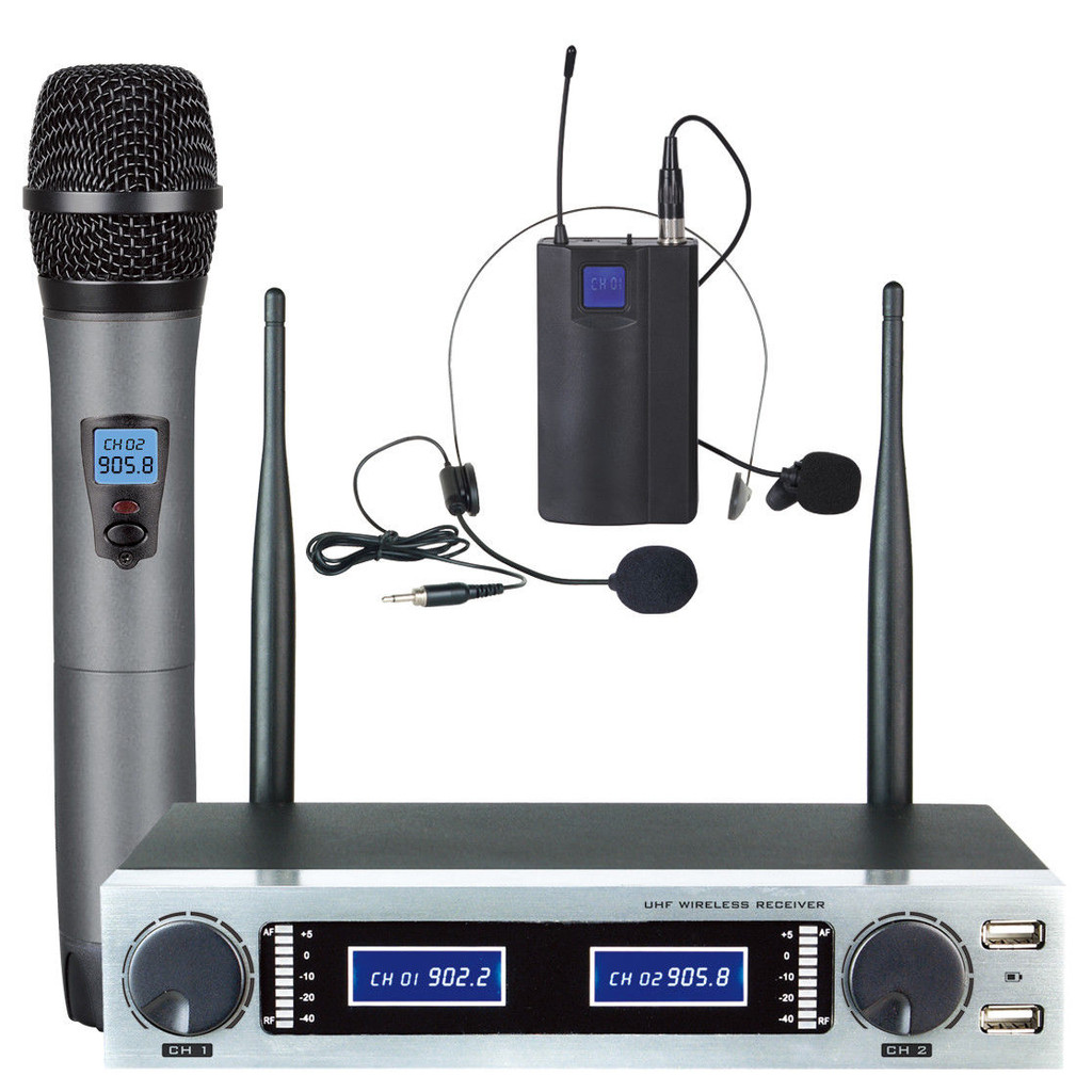ABEL UHF MICROPHONE DUAL CHANNEL MIC + HEADSET USB RECHARGEABLE