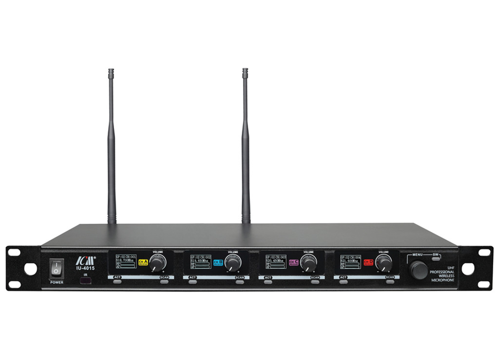 MOS IU-4015 UHF PLL Four-channel wireless Headset and Lavaliere microphones (Tunable 2,000 selectable frequencies)