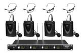 4 Channel 4 Lapel 4 Headset Mics UHF WIRELESS MICROPHONE SYSTEM OD 4 BODYPACK