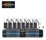 ABEL MOS 8 Channel Wireless 8 Headsets & 8 Lavalier Mic UHF Microphone System Rack Mount