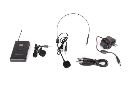 UHF 2 Lapel 2 Headset Mics Dual Channel LED PRO WIRELESS Microphone System U88A