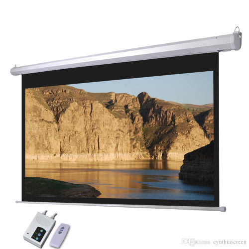 "120"" inch Electric Remote Motorised Home Cinema Projector Screen Electric HD- Matte White"