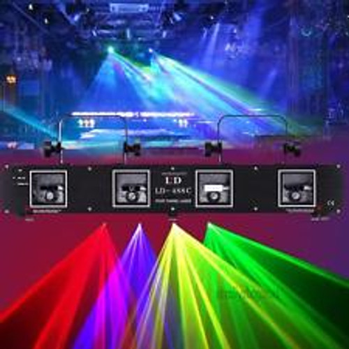 760mw 4Lens 4 Beam Laser Light Green Red Yellow Blue DMX 7CH