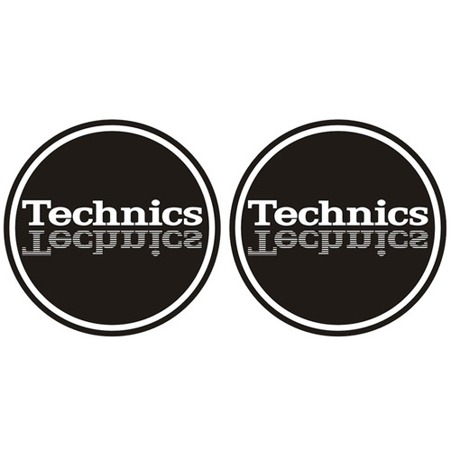 Technics 60647 DJ Vinyl Turntable Slipmat Mirror Black  Grey Pair