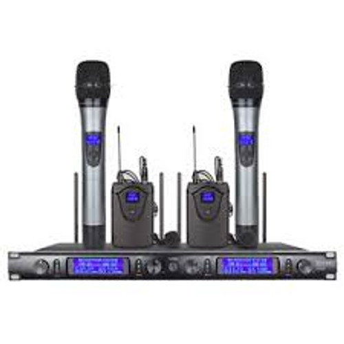 4 Channel 2 Cordless Handheld 2 Lavalier Mic UHF Wireless Microphone System