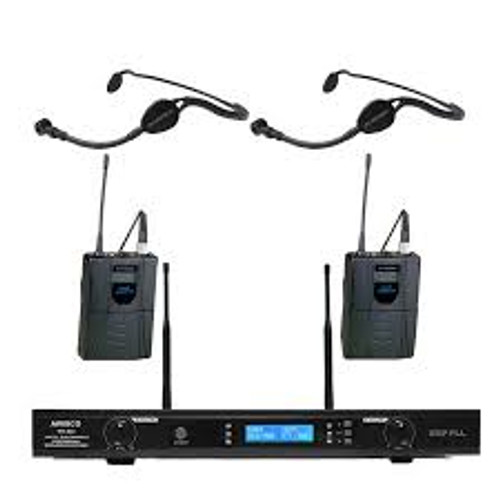 Wireless Microphone System UHF 100 Channel 2 Cordless 2 Lavalier 2 Headset Mic