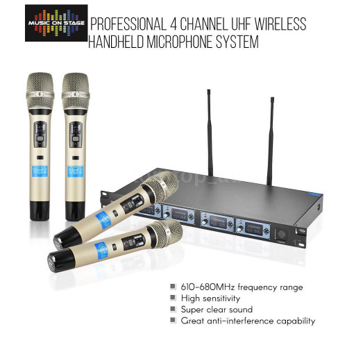 ATOM MOS-4 Channel UHF Wireless Handheld Microphone System 4 Mics 1 Receiver U6H0