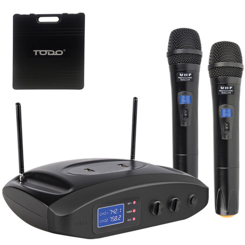 TWIN MICROPHONE UHF DUAL CHANNEL USB RECHARGEABLE MIC CASE