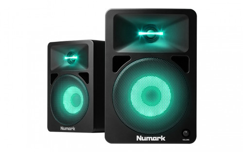 Numark N Wave 580L Desktop DJ Monitors w/ Pulsating Lights (Pair)