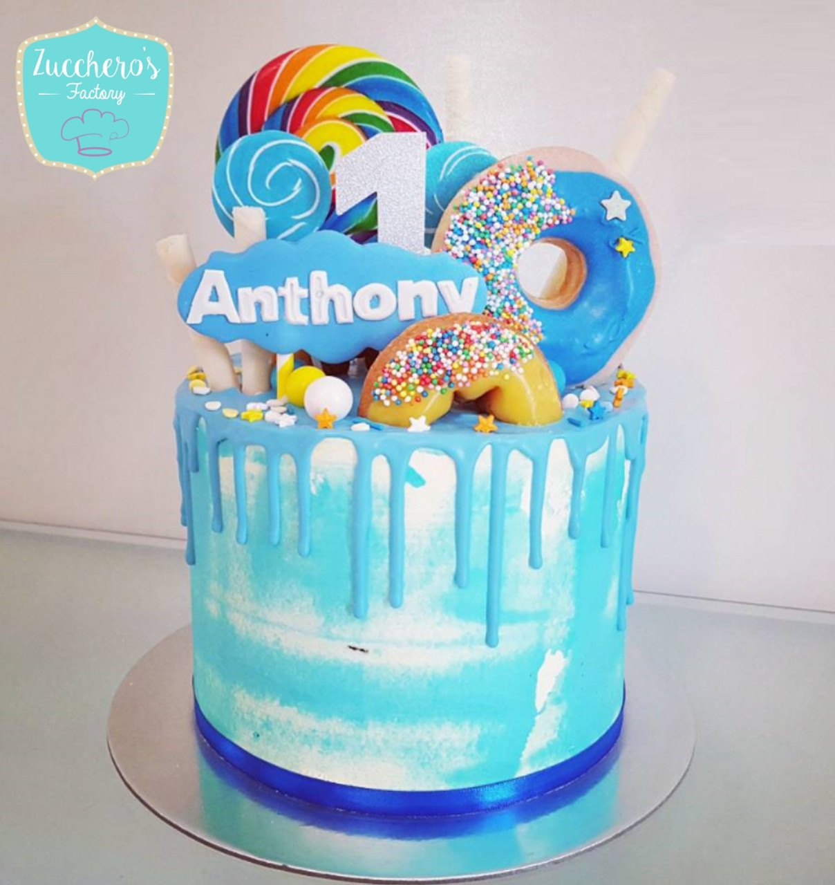 Superb Doughnut Drip Cake Personalised Birthday Cards Veneteletsinfo