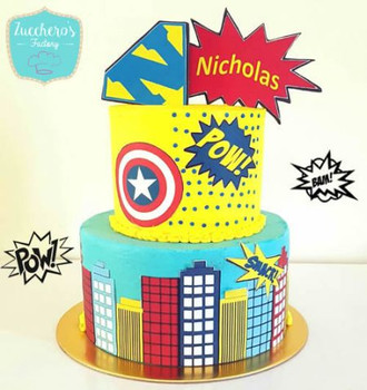 Two Tier Buttercream Super Hero Cake Edible Image