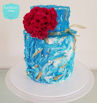White & Blue  tiered Cake