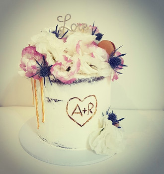 Fresh Flowers Anniversary Cake