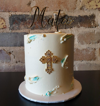 Baptism Cake & Topper