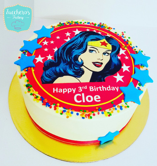 Superhero Printing Image Cake For Girls
