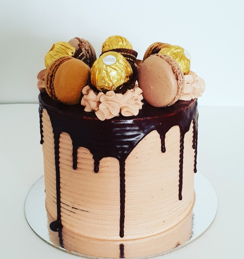 Chocolate and Macarons Cake