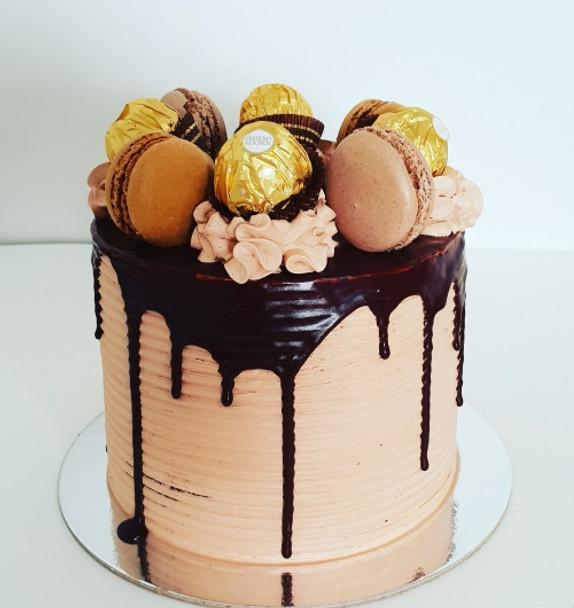 Chocolate and Macarons Cake